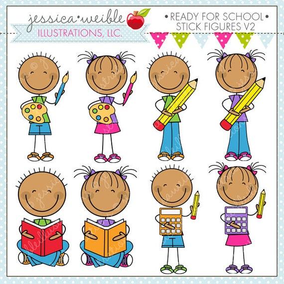 ready for school stick figures v2 cute digital clipart for rh etsy com Teacher Christmas Clip Art Teacher Clip Art Black and White
