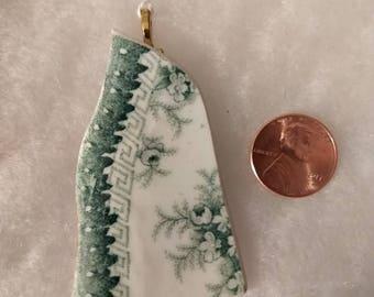 Unique green and white broken china pendant