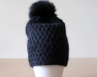 Black fur pom pom hat, Chunky knit hat, Fur bobble hat, Mohair and cashmere hat, Pom pom hat, Blackhat