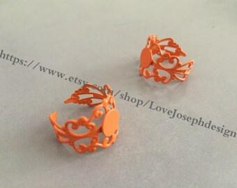 5 Pieces /Lot 8mm Orange adjustable filigree pad bezel ring blanks(#0363)