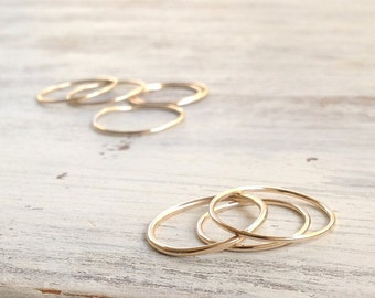 set of 4 rings, knuckle ring, stacking rings, thin ring, gold knuckle ring, simple ring, midi ring, smooth ring -RB11