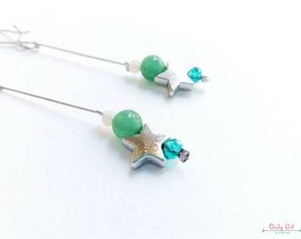 Star earrings, delicate, boho style, bohemian chic earrings