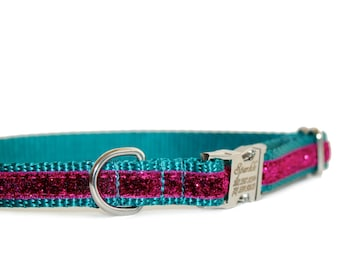 Sparkle Puppy Dog Collar,Personalization Pet ID Dog Collar, Metal Buckle Collar, Teal and Fuchsia,