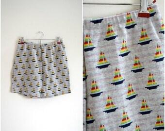 MOVING SALE Vintage grey sailboat pattern cotton knit shorts / rainbow boat pattern elastic waist shorts