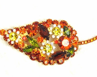 Juliana Paisley Brooch, Crystal Glass Rhinestones in Fall colors, Orange, Yellow, Green & Brown, Figure 8 Puddling, Vintage