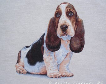 Coupon fabric Panel tapestry BASSET HOUND
