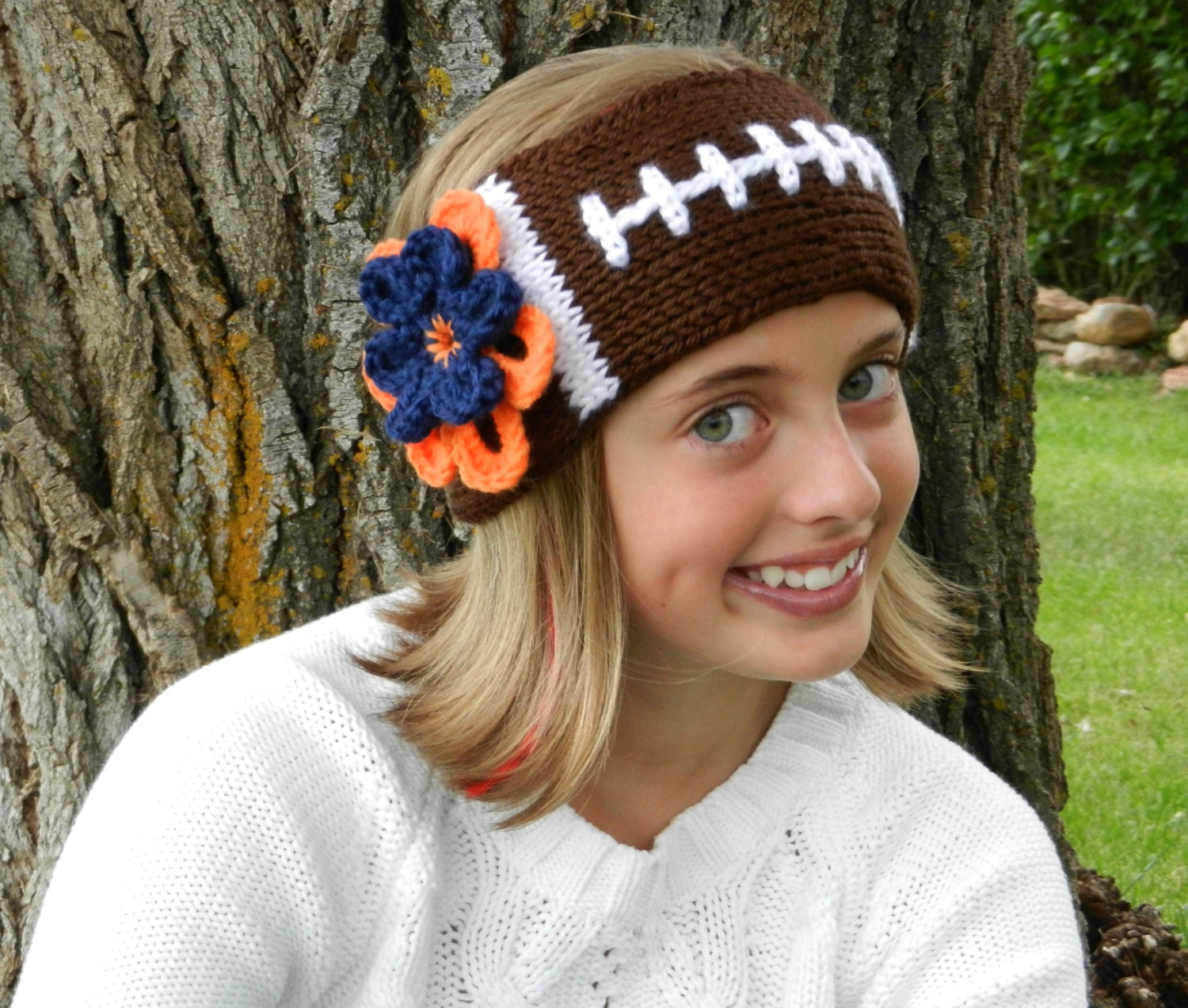 Tunisian Knit-Look Crochet Football Headband