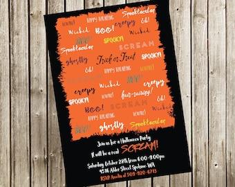 Halloween Party Invitation, Digital Invitation, Halloween Birthday Invitation
