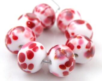 Be Mine SRA Lampwork Handmade Artisan Glass Donut/Round Beads Made to Order Set of 8 8x12mm