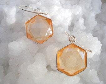 Tangereine Aura Star of David Earrings - set in Sterling Silver - A Grade !