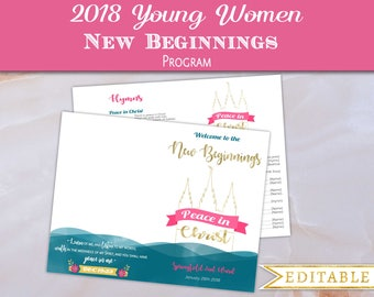 New Beginnings Program Editable PDF LDS YW Template Mutual Theme 2018 Peace in Christ Young Women lds Yw new beginnings program template