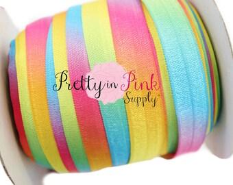 "Rainbow Tie DYE- Fold Over Elastic- FOE- You Choose Yards- Fold-over Print Elastic- Elastics by the Yard- 5/8"" Fold Over Elastic"