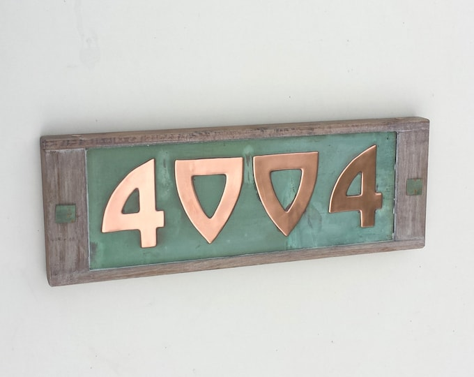 "Arts and Crafts Style Wood and Copper 3""/75mm, 4""/100mm House numbers with real patina,  4 nos x in Bala font, polished and lacquered g"
