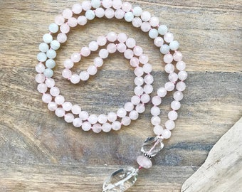 I AM LOVE Mala Beads Necklace /Rose Quartz 108 mala /Long Beaded Necklace /Yoga Gifts / Buddhist Necklace/ Meditation Gifts