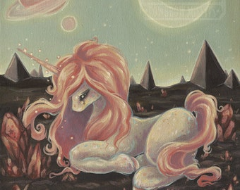 Cosmic space UNICORN -Lowbrow pop surreal print painting crystals