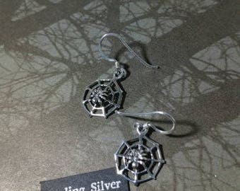 sterling spider web earrings