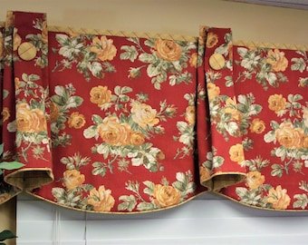 "Custom Valance TOP HAT Hidden Rod Pocket® Valance to fit 32""- 46"" window, Constructed using your fabrics and my lining"