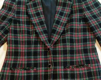 Pendleton 100% Pure Wool 70s Blue & Green Plaid Blazer Womens Size 12