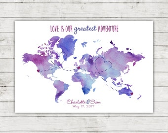 Wedding Guest Book World Map, Connecting Heart Dots, Digital File, Printable, Travel Themed Wedding, Watercolor