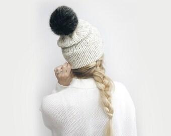 Double Brim Hat, Knit Slouchy Beanie ⨯ The Savante ⨯ in Oatmeal with Black faux fur pom pom