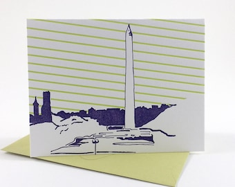Washington D.C. Letterpress Card | Washington Monument | purple & green single blank card with envelope