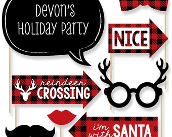 Prancing Plaid Booth Props - Holiday Party Prop Kit - Buffalo Plaid Photo Booth Selfie Prop Kit - Lumberjack Christmas Props - 20 pc.