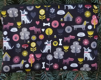 Dogs zippered bag, make up bag, accessory bag, Dog's Life, The Scooter