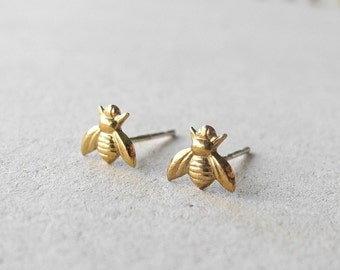 Bee Stud Earrings, Insect Jewelry, Honey Bee Earrings, Golden Brass Bee Jewelry, Tiny Earrings, Bee Jewelry, Sterling Silver Hypoallergenic