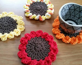 MTO Sunflower Coaster Set / Sunflower Coasters / Crochet Coaster Set / Sunflower Decor / Flower Coaster Set / Flower Decor / Set of 4