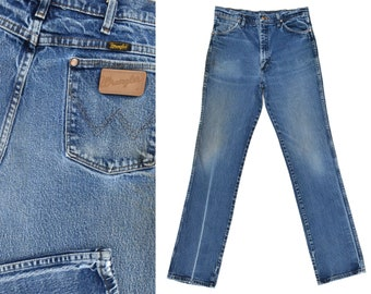 Vintage Wrangler Jeans Distressed & Faded Western Cowboy Jeans Womens or Mens Wrangler Dark Denim Jeans Boyfriend Fit Vintage Jeans 32 X 36