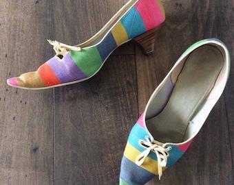 1970's Rainbow Striped Kitten Heels Size 6.5 by Maeberry Vintage
