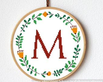 Floral monogram, flowers cross stitch pattern, monogrammed, flowers cross stitch pattern, Modern Cross stitch, Personalized, Custom name