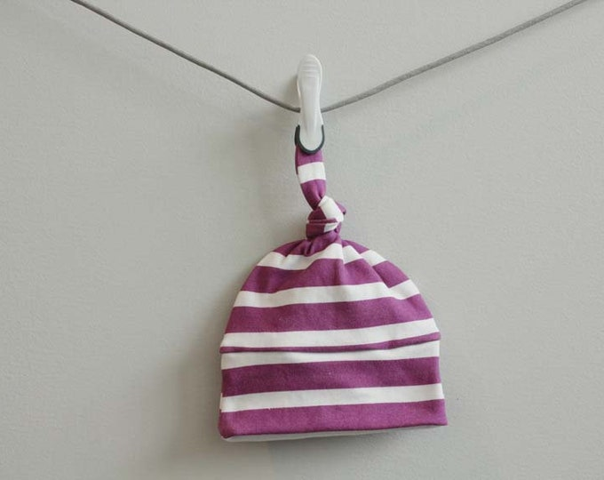 baby hat berry stripe Organic knot modern newborn shower gift photography prop hospital outfit accessory neutral girl boy