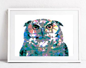 Pop art owl print, owl art, geometric owl poster, custom print, owl decor, abstract wall art, wall art printable, animal poster, kids art