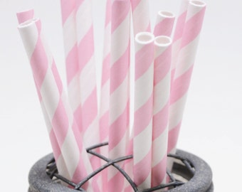 25 Cotton Candy Pink Stripe Paper Straws - Perfect for Parties - Favors--Free Editable DIY Tags PDF