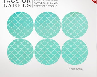 Round Sticker Labels - 1 Inch Round Mermaid Label Template Kit - Labels Printable Envelope Seals Avery Silhouette Cricut LB1R AAB