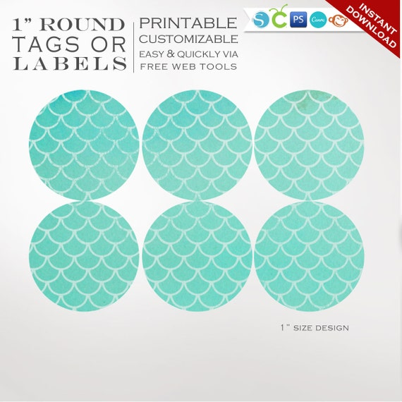 round sticker labels 1 inch round mermaid label template kit. Black Bedroom Furniture Sets. Home Design Ideas