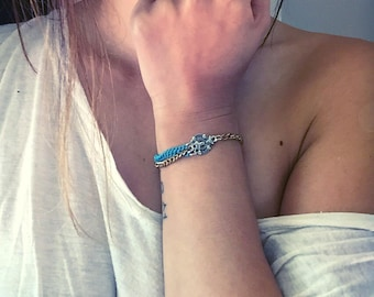 Silver and Blue Bracelet with Multiple Chains