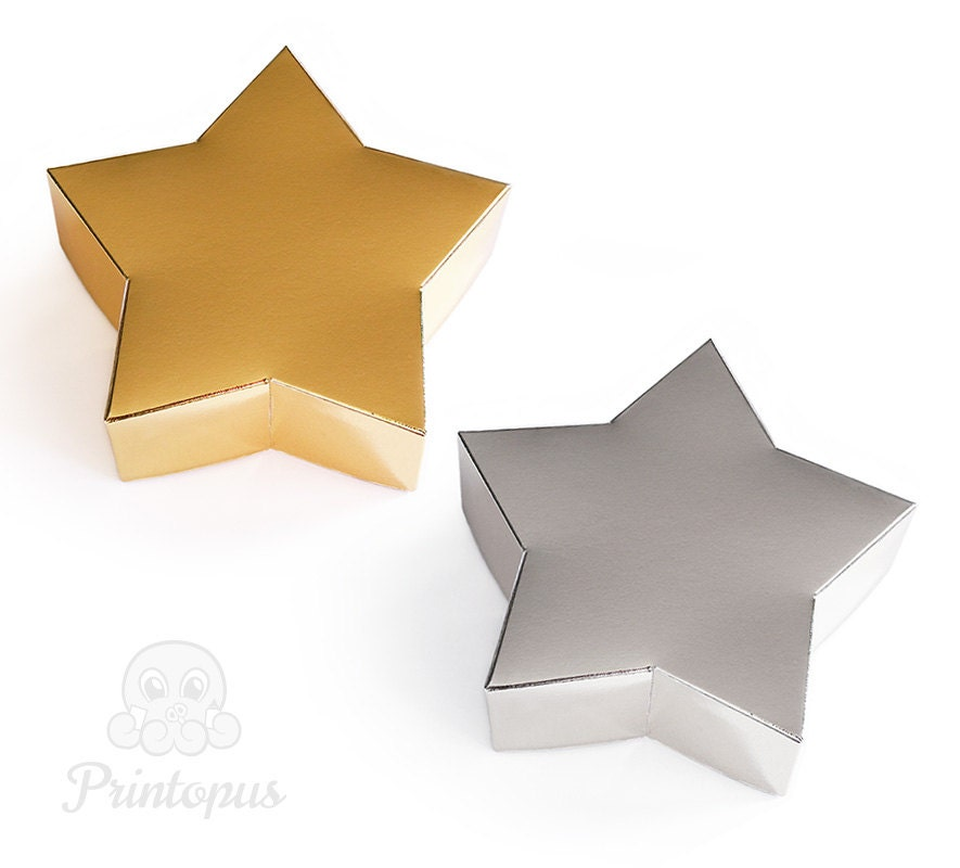 Star shape printable gift box template pdf digital file zoom pronofoot35fo Images