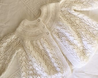 White Baby Wool Knitted Cardigan