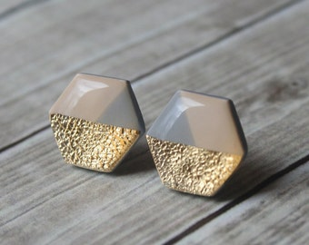 Beige Grey and Gold Hexagon Studs, Geometric Jewelry, Minimalist Statement Earring Studs, Hypoallergenic Titanium Earrings, Modern Jewelry