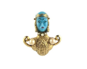 Blue Glass Asian Princess Pin /Turquoise Blue Asian Princess Brooch/ Asian Face  Faux Pearl Gold Tone  Brooch