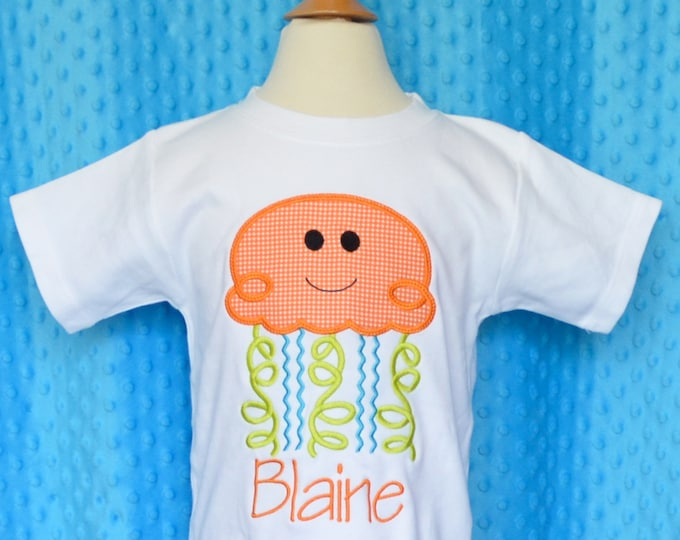 Featured listing image: Personalized Jelly Fish Applique Shirt or Onesie Boy or Girl