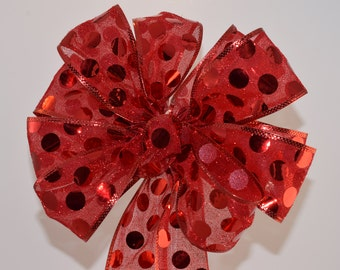 Red Polka Dot Bow, Holiday Bow ,Christmas Bow, 4th of July Bow, Decorative Bow, Wreath Bow, Basket Bow