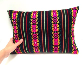 Mexican Decorative Pillow Cover - 12x16 Black  Aztec Cushion - Tribal Home Decor - Bedding  - Embroidered Cambaya Fabric Housewares