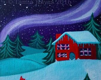 Original Northern Lights Acrylic Painting Aurora Borealis Winter Cabin Elf Tamia Chicasol