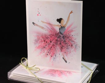 Set of  Original Watercolor PRINT- Ballerina Greeting Cards/ Note Cards  (Set of four), ballerina cards, cards for her
