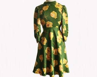 Vintage 70s moss green satin dress/ yellow flowers/ poppy dress/ handmade floral dress/ garden party dress