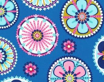 NEW Michael Miller La Dee Da Blue Flower Medallion fabric - 1 yard