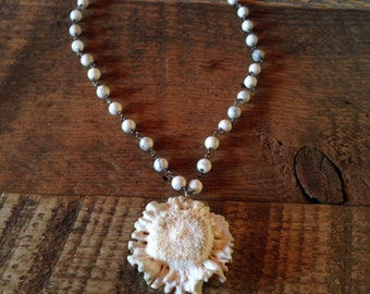 Antler Button Necklace with Howlite Jade-ONE-OF-A-KIND